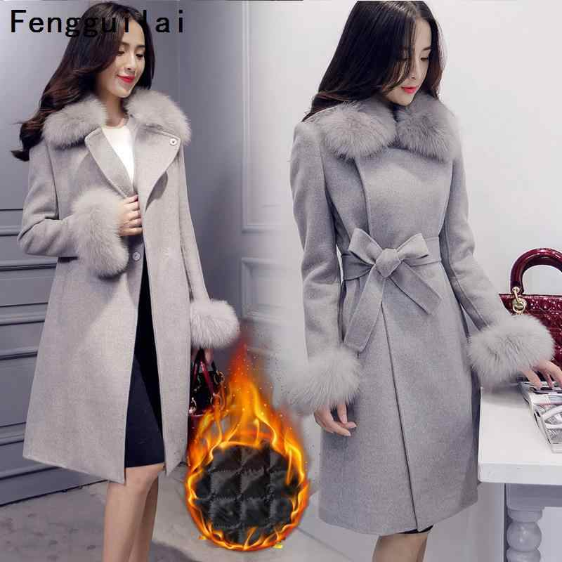 Elegant Fashion Long Wool Coat Collar Detachable Fur Collar Wool Blend Coat and Jacket Solid Women Coats Autumn Winter
