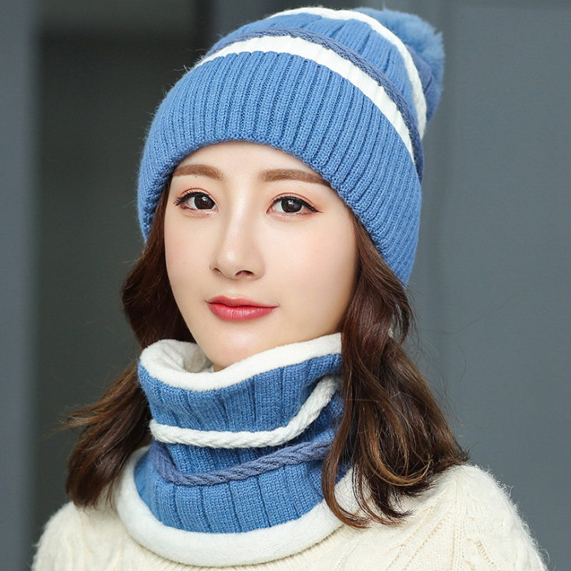 HT2711 Hat Scarf Set Women Thick Warm Winter Hat And Scarf Windproof Winter Accessory Ladies Knitted Hat Scarf Winter Set Women