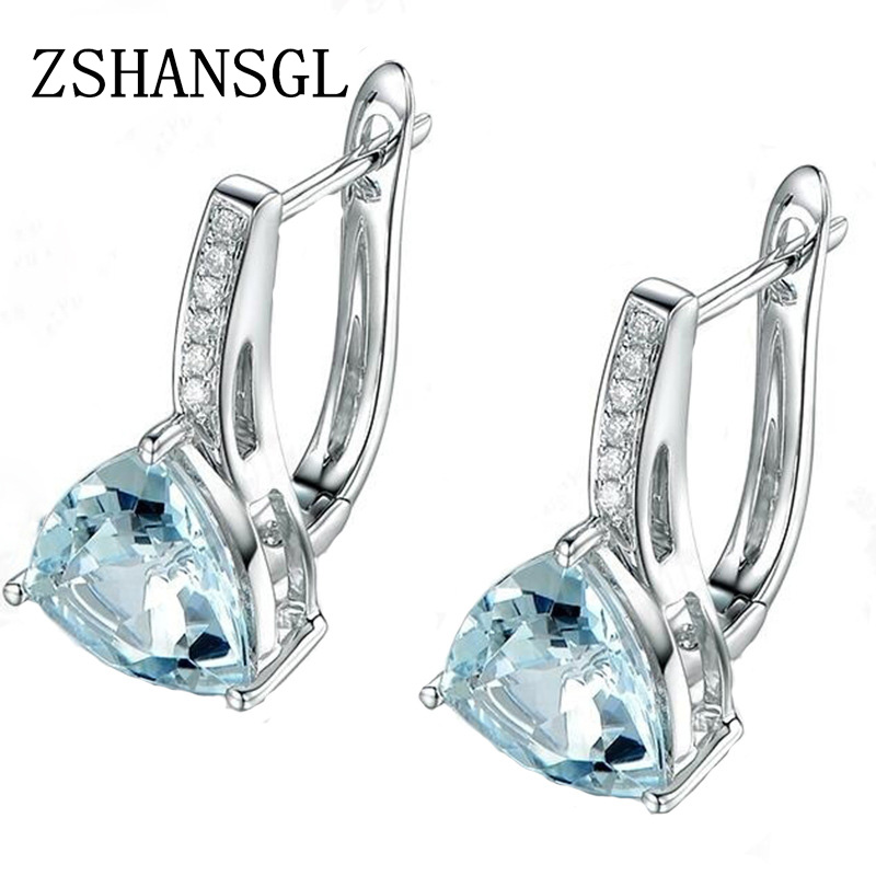 Love Heart Light Blue CZ Zircon Stud Earrings For Women Sliver color Wedding Earrings Fashion Jewelry Gifts for Her