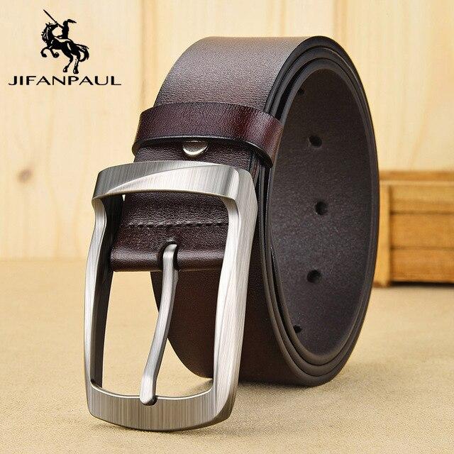 JIFANPAUL бренд подлинный мужской модный кожаный ремень сплав Материал Пряжка Бизнес Ретро Мужские джинсы дикие ремни высокого качества - Цвет: VB 3.8CM Coffee