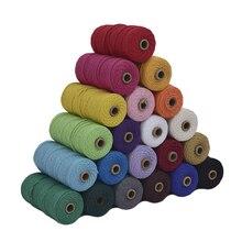 110Yard 3mm makrome pamuk kordon renkli halat bej bükülmüş zanaat DIY ev tekstili dekoratif tedarik makrome dize