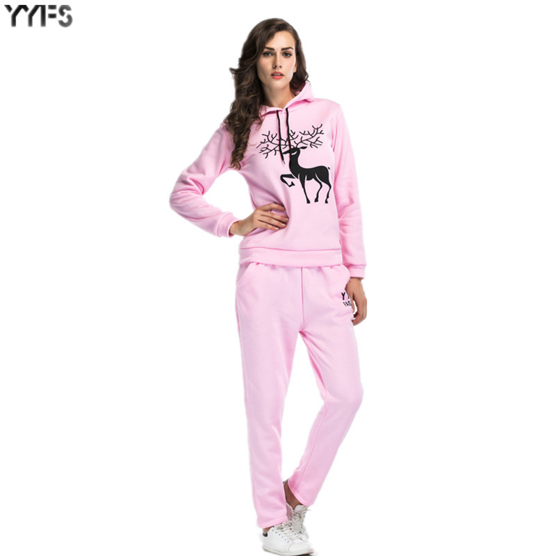 2020 Spring Two-Piece Snowflake Deer Printed Fashion Plus Velvet Hoodie Trousers Large Size Casual WOMEN'S Suit