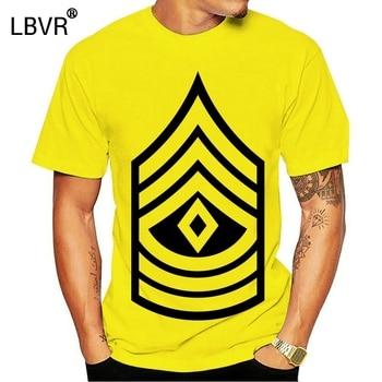 Cartoon Print Short Sleeve T Shirt  Vintage Army E-8 First Sergeant Rank Veteran T-shirt