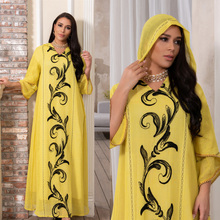 Spring New Arrival Hooded Dress Yellow Abayas Islam Women's Clothing Muslim Fashion World Apparel Robe Long Turkey Kaftan Arab