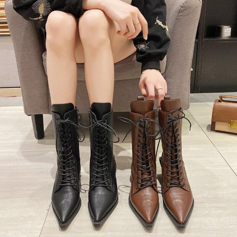 pointed Martin boots high heel thick heel non-tiring shoes European zipper mid calf temperament women boots women's shoes