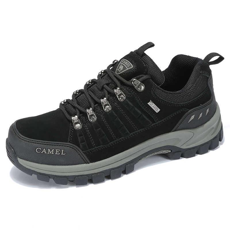 DEVE Klasik Tarzı Erkekler yürüyüş ayakkabıları Lace Up Hakiki deri erkek ayakkabısı Açık Kaymaz trekking ayakkabıları Nefes Spor Ayakkabı