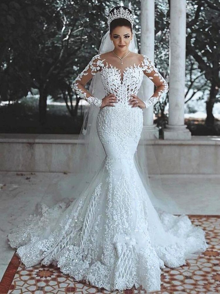 Sparkly Lace Wedding Dress Mermaid Illusion Bodice Vestido De Noiva Long Sleeve Sheer Neck Appliques Bridal Gowns 2020 Spring