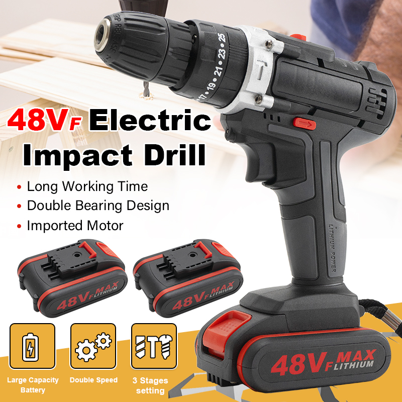 48VF Mini Electric Drill Impact Drill Cordless Drill Wrench Electric Screwdriver Set with LED 2 Speed Battery For Home