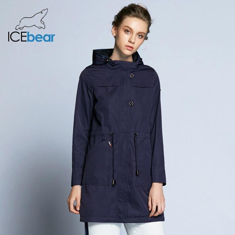 ICEbear 2019 nouveauté automne Trench manteau solide couleur femme mode Slim manteaux col rond automne Trench Coat B17G123D