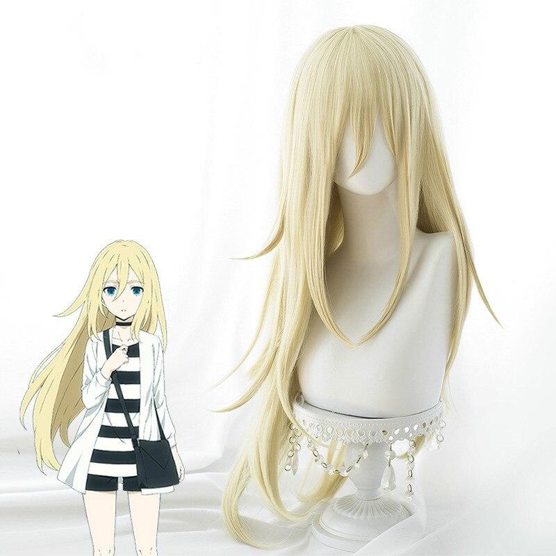 Anime anjos da morte rachel gardner ray cosplay perucas em linha reta loira cosplay peruca de cabelo + tampão peruca livre