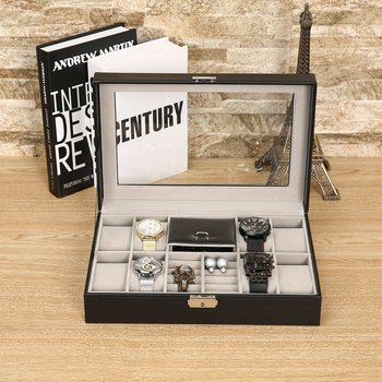 Czarny 30*20*8cm 2 w jednym 8 siatki + 3 mieszane skóra zegarek przypadku do przechowywania organizator Box luksusowe biżuteria pierścień wyświetlacz pudełka do zegarków