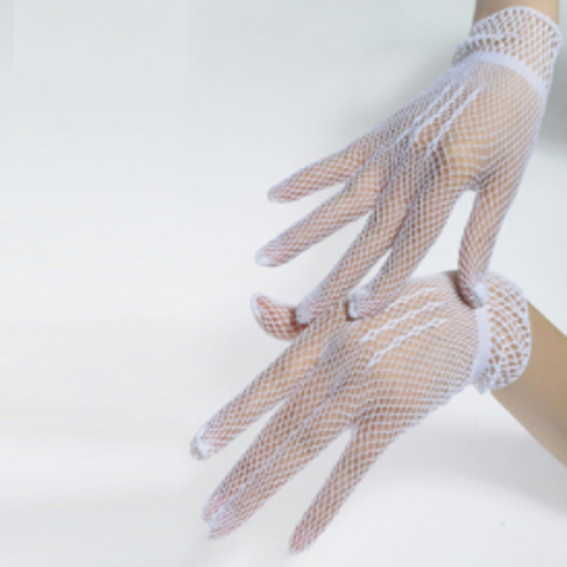 Women Lace Mesh Hollow Out Gloves Women Summer Autumn Elegant Evening Party Gloves Bride Elastic Gloves
