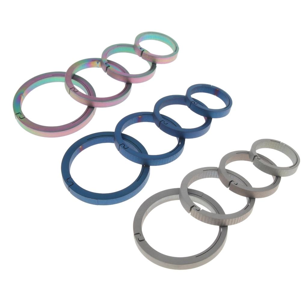 4pcs Titanium Circle Keychain Carabiner Ring Buckle Round Snap Hook