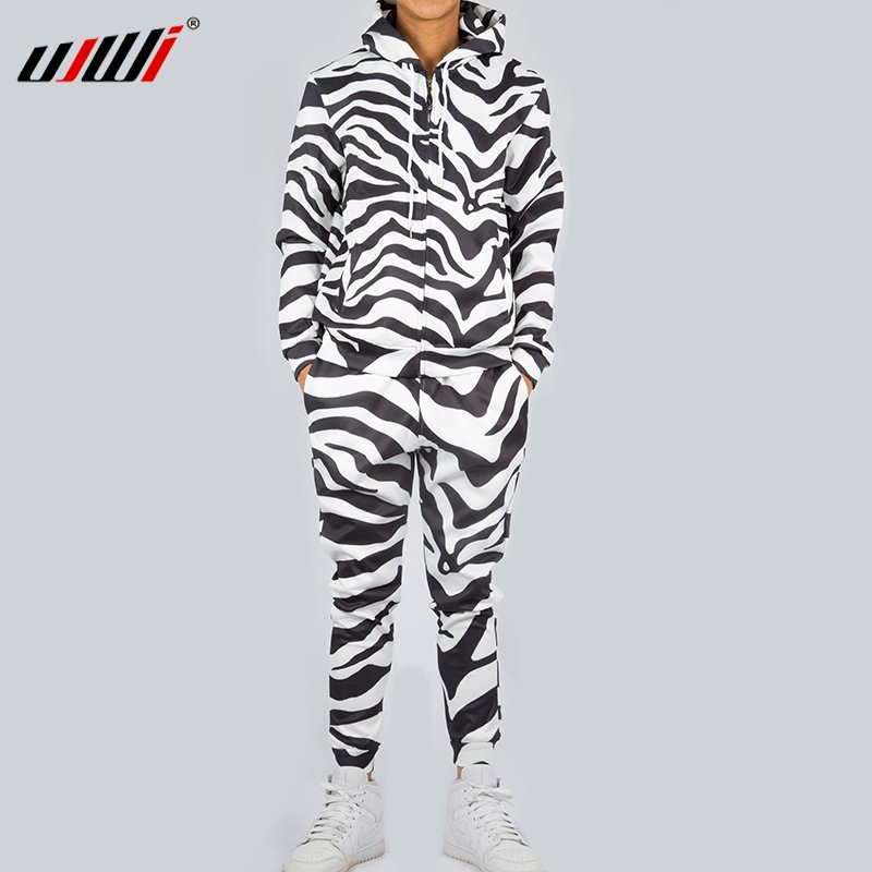 UJWI Fashion Men/Women 2 Pieces Tracksuit Set Harajuku 3d Black While Zebra Unisex Hoodies Sportswear Pant Suit Fitness Clothes