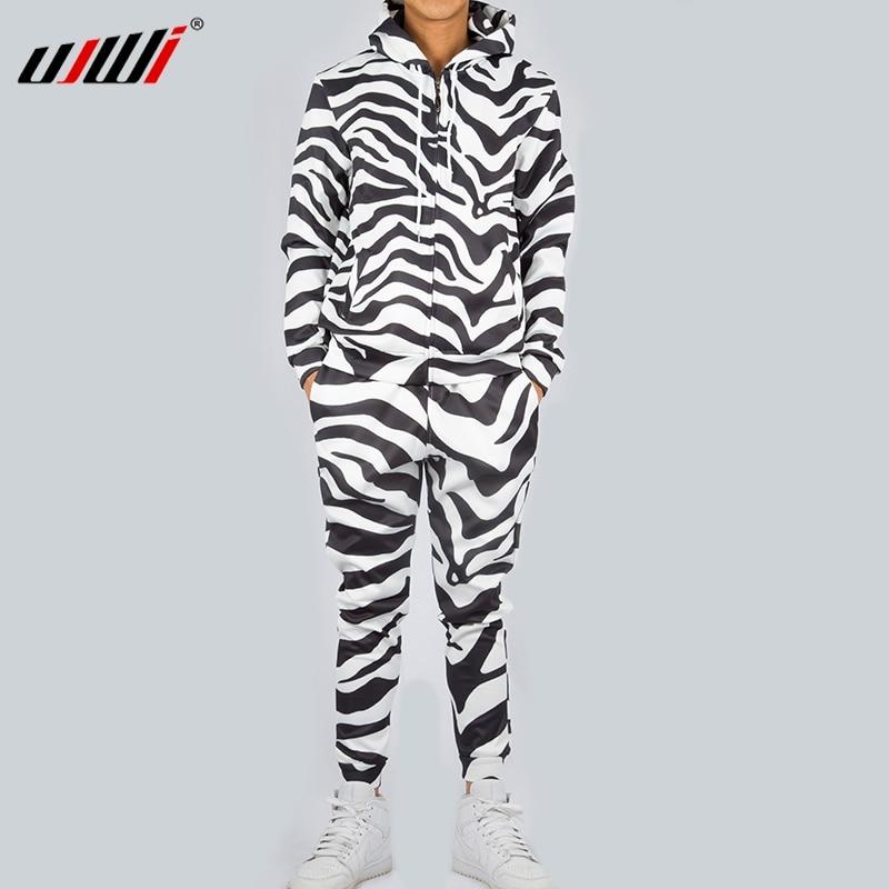 UJWI Fashion Men/Women 2 Pieces Tracksuit Set Harajuku 3d Black While Zebra Unisex Hoodies Sportswear Pant Suit Fitness Clothes