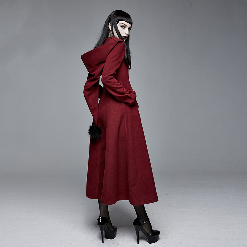 Teufel Retro Rot Damen Feder Warme Wolle Mantel Tasche Partei Langen Mantel Warme Winter Mantel Frauen - 5