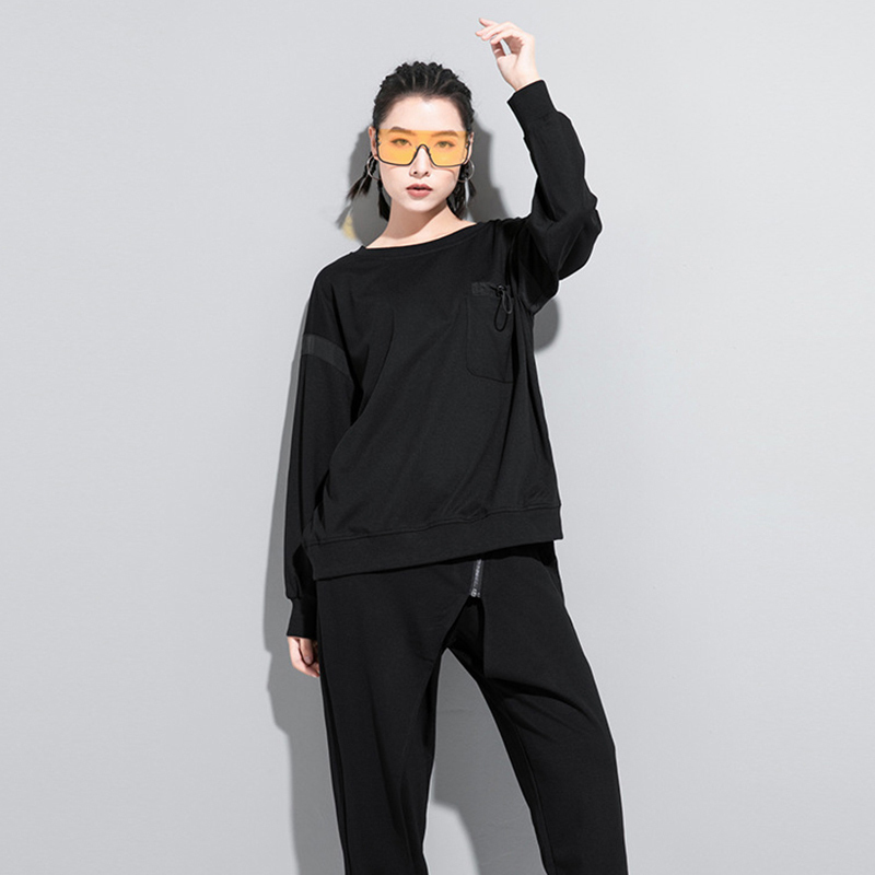 [EAM] Women Black Back Ribbon Split Joint Big Size T-shirt New Round Neck Long Sleeve  Fashion Tide  Spring Autumn 2020 1Z204 2