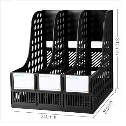 Многослойная стойка для файлов, утолщенный пластиковый настольный органайзер для документов, Студенческая книжная полка, держатель для канцелярских принадлежностей, коробка для хранения книг - Цвет: black  3 layers