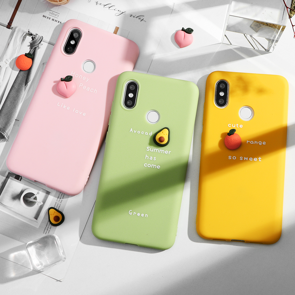 3D Fruits Colour Cute Soft TPU Case For Xiaomi Redmi K20 S2 Note 6 6A 5 5A 7 7A 8 8A 8T 9 SE Lite Pro Plus 5X 6X Case Capa Coque