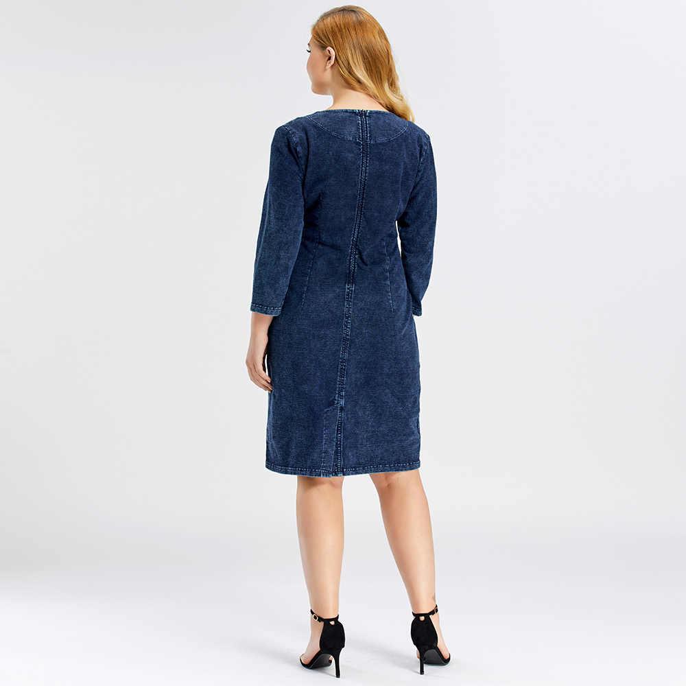 LIH HUA frauen Plus Größe Denim Kleid hohe flexibilität Slim Fit Kleid Casual Kleid Schulter pads für kleidung