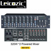 Leicozic Professional Powered Mixer 320W x2 @4ohms 10 CH amplifier mixers MD10FX audio mixer rack mount 16 DSP effect processor