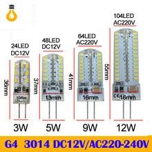 10 pçs/lote g4 3014 lâmpada led ac dc 12v 220 3 5 9 substituir 10 20 30 halogênio luz 360 ângulo de feixe g4 natal lâmpadas led