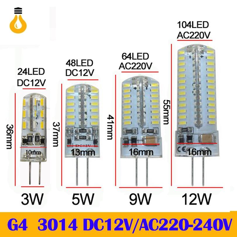New 2020 G4 G9 LED Bulb Lamp SMD 2835 3014 DC12V AC 220V 3W 5W 9W 12W Dimmable Led-Licht Dimmbar Kronleuchter Lichter Erset