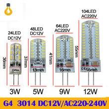 Novo 2020 g4 g9 lâmpada led smd 2835 3014 dc12v ac 220v 3w 5w 9 12 led regulável-licht dimmbar kronleuchter lichter erset