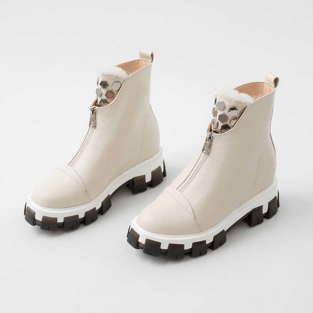 Artı boyutu 34-43 Zip çizmeler kadın ayakkabıları kış yeni hakiki deri çizmeler kadın askeri rahat Martin çizmeler kadın yün kar çizmeler