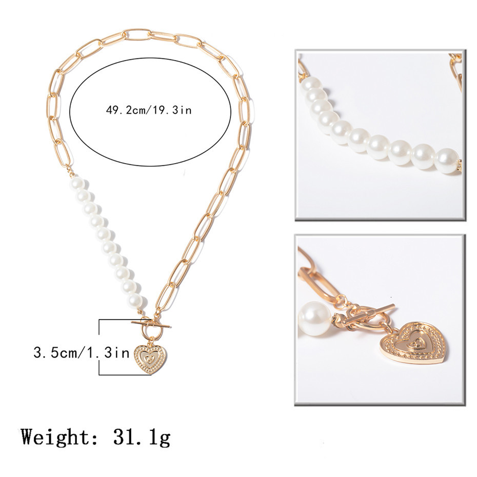 IngeSight.Z Punk Imitation Pearl Choker Necklace Collar Statement Golden Love Heart Lasso Pendant Necklaces for Women Jewelry 3