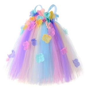 Image 2 - パステル花の妖精ガールチュチュドレスプリンセスチュールフラワーガール結婚式ページェントガウン子供の誕生日パーティードレス
