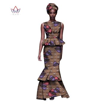 2020 New African Dresses For Women Dashiki Ladies Clothes Ankara O-Neck Africa Clothes Two Pieces Set Natural 6xl None WY1054 - 22, L