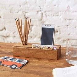 Drewniane przenośne przechowywanie wielofunkcyjne obsadka do pióra pudełko na wizytówki Post pudełko kartonowe stacjonarny telefon komórkowy uchwyt do domu prezent biurowy