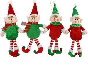 4 pçs pelúcia elfos de natal bonecas ornamentos da árvore de natal brinquedos decorações de natal para casa decorações da porta de natal