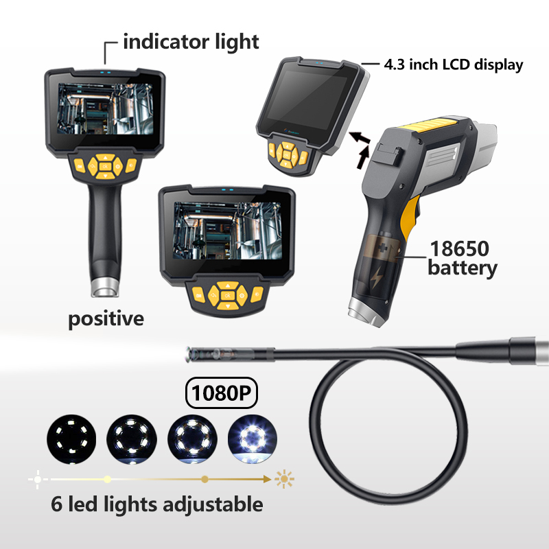 Image 3 - HD Endoscope 1080P 4.3 inch 8mm Inspection Camera for Auto Repair Tool IP67 Waterproof Snake Tube Borescopes 30-in Surveillance Cameras from Security & Protection