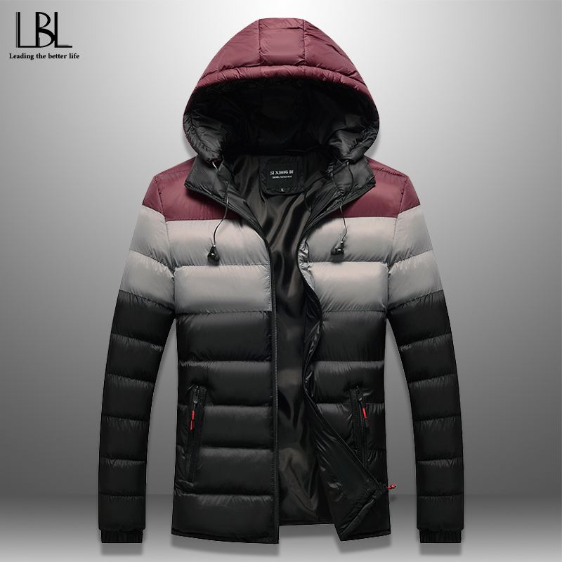 Men's Winter Parka Patchwork Wadded Jacket With Earphone Cables Casual Warm Hooded Cotton-Padded Coat Windproof Brand Clothing