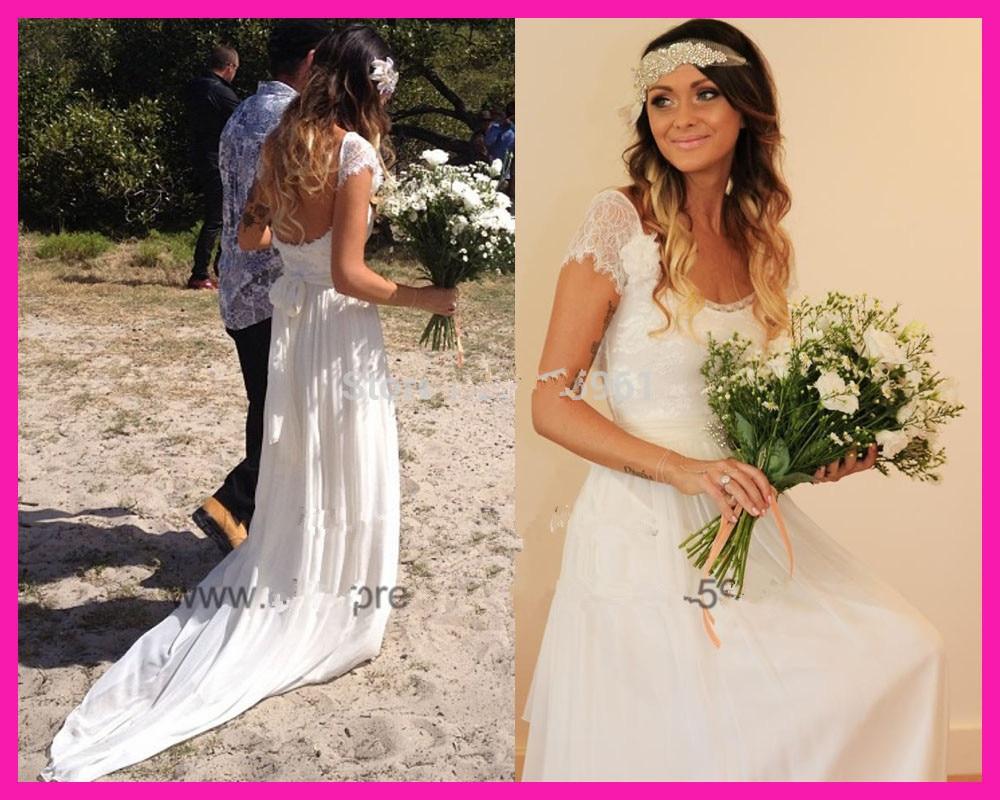 Vestido De Festa Longo 2019 Vestido De Noiva Free Shipping Summer Beach Lace Chiffon Bridal Gowns Destination Wedding Dress