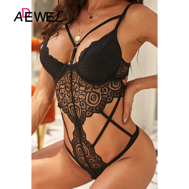 H2ed6e417e64c4c99a0a988f8fb713af8c - ADEWEL Sexy Black Royce Push Up Women Leotard Bodysuit Lace Cross Strap Kadın Mayo Body Suit Costume De Bain Femme 1 Piece