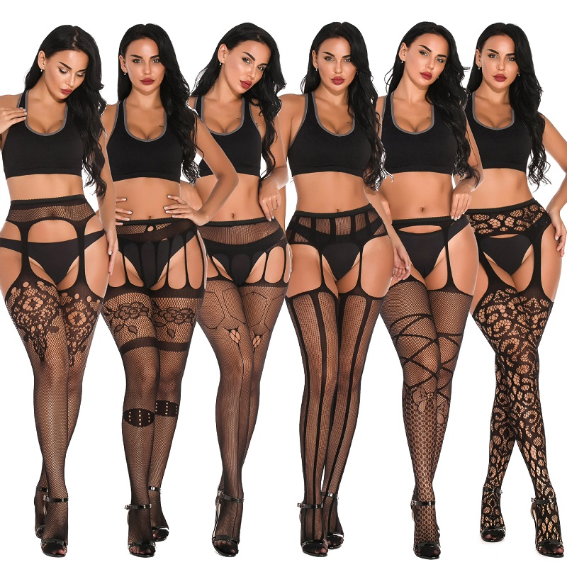 Women Sexy Lingerie Stockings Black Fishnet Tights Transparent Crotchless Pantyhose      Thigh High Elastic Embroidery Stockings