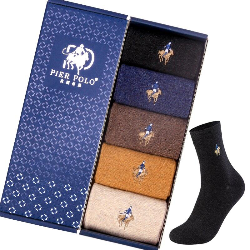 5 пар PIERPOLO, Брендовые мужские носки, мужские зимние теплые носки, хлопковые качественные мужские повседневные носки в деловом стиле