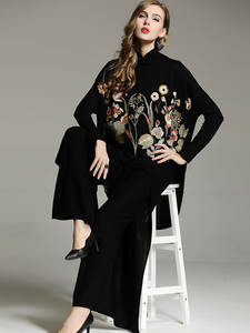 Coat Chinese-Style Sweater Knit Black Elegant Plus-Size Women Royal Floral Wool Lady