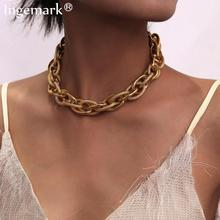 High Quality Punk Lock Choker Necklace Pendant Women Collar Statement Brand Gold Color Chunky Thick Chain Necklace Steampunk Men cheap Ingemark Iron alloy Chains Necklaces CN(Origin) Hiphop Rock Link Chain Metal ROUND All Compatible Party Mood Tracker None