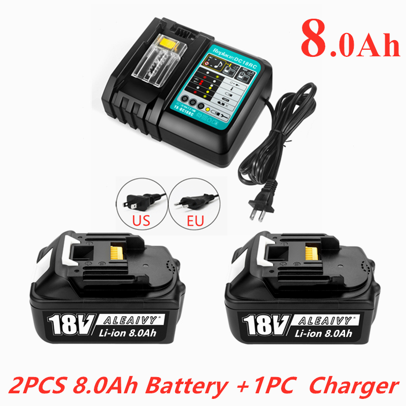 Genuine WIth Charger BL1860 Rechargeable Battery 18V 8000mAh Lithium Ion for Makita 18v Battery 8Ah BL1850 BL1880 BL1860B LXT400