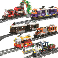 City Christmas Trains Track railway Rails sets Model building Blocks Brick Toy Compatible All Brands christmas gift For Kids