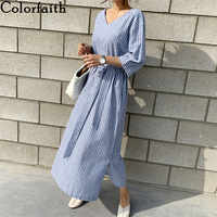 Colorfaith New 2020 Summer Women Dress Loose Lace Up Casual V-neck Half Sleeve Striped Split Cotton and Linen Long Dress DR1125
