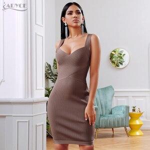 Image 3 - ADYCE 2020 yeni yaz bandaj parti elbise kadınlar seksi kolsuz spagetti kayışı Bodycon Midi haki ünlü akşam kulübü elbise