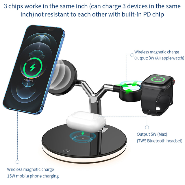 3 in 1 Magnetic Wireless Charger 15W Fast Charging Station for Magsafe iPhone 12 pro Max Chargers for Apple Watch Airpods pro 3