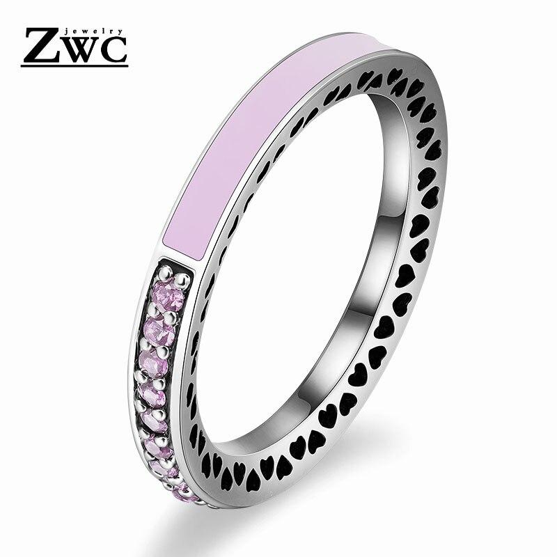 ZWC модный Сияющий светильник в виде сердец с розовой эмалью и прозрачным CZ кольцом на палец для женщин, кольца с кристаллами из медного сплава, ювелирные изделия в подарок - Цвет основного камня: LightPink