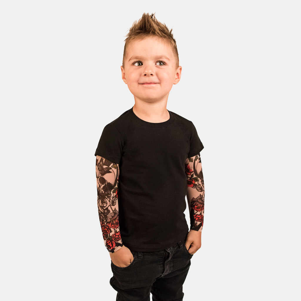 Toddler Kids Baby Boys T-Shirt with Mesh Tattoo Printed Sleeve Floral Tee Top