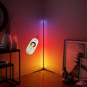 Светодиодная угловая RGB Напольная Лампа smart APP с дистанционным управлением, Затемняющая стоящая лампа для современного офиса, украшения спа...